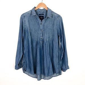 American Eagle Jegging Fit Chambray Popover Top